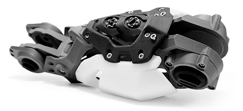 Showcase of raw 3D print without surface treatment - part of an artificial arm