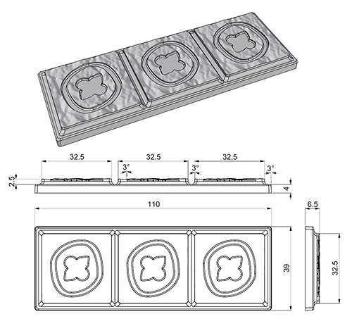 3D model of a chocolate bar to 3D print a matrix to produce silicone mould